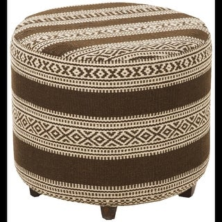 """20"""" Chocolate Brown and Light Beige Upholstered Wool and Wooden Foot Stool Ottoman"""