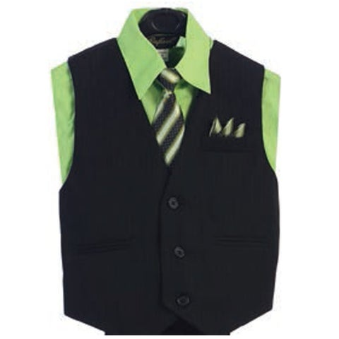 Angels Garment Lime Green 4 Piece Pin Striped Vest Set Boys Suit 2T-4T