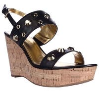 Ivanka Trump Gitty Platform Studded Wedge Sandals, Black