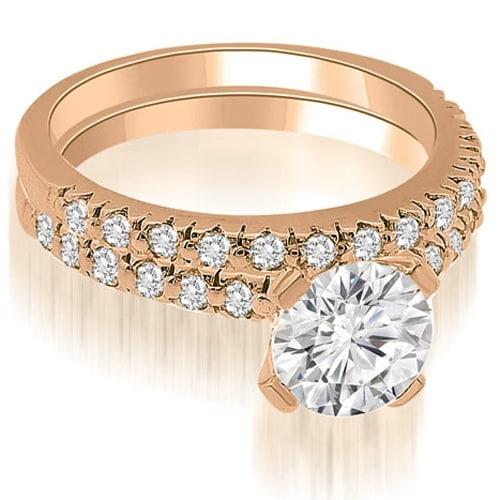 1.28 cttw. 14K Rose Gold Round Cut Diamond Bridal Set
