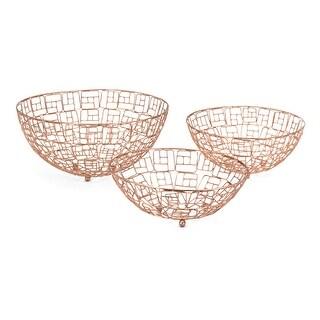 IMAX Home 75133-3  Pascal Iron Decorative Bowls - Set of 3 - Gold
