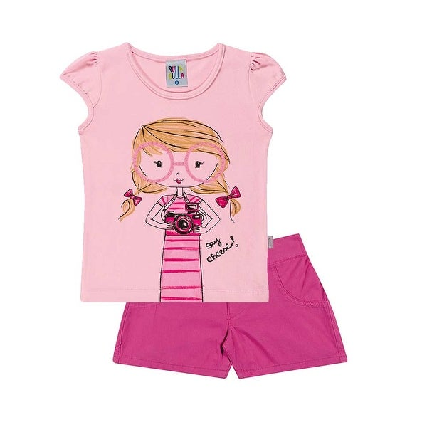 Toddler Girl Outfit Graphic Shirt and Jean Shorts Set Pulla Bulla Sizes 1-3 Year
