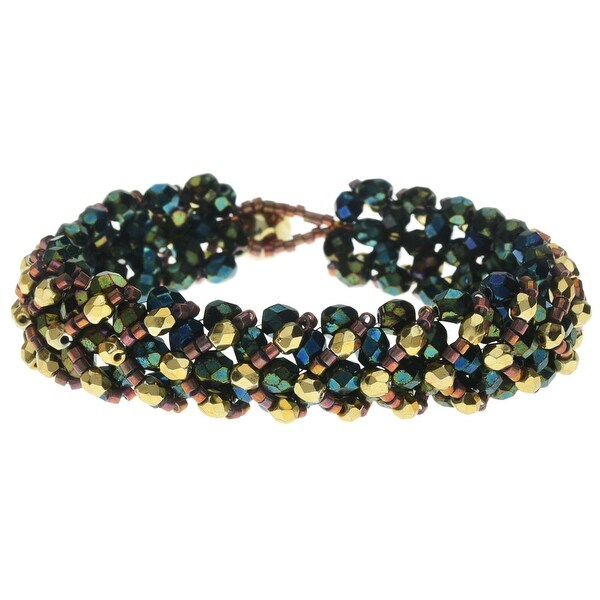 Chevron Right Angle Weave Bracelet - Green Iris/Gold - Exclusive Beadaholique Jewelry Kit