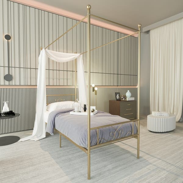4 Post Gold Twin Metal Canopy Bed