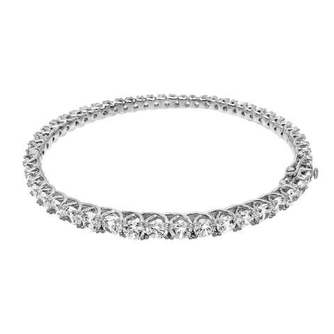 Cubic Zirconia Graduated Round-Cut Tennis Bangle, Sterling Silver
