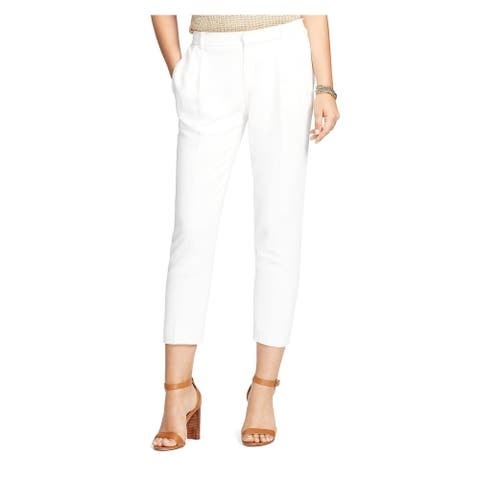 RALPH LAUREN Womens Ivory Pleated Crepe Cropped Short Size 16