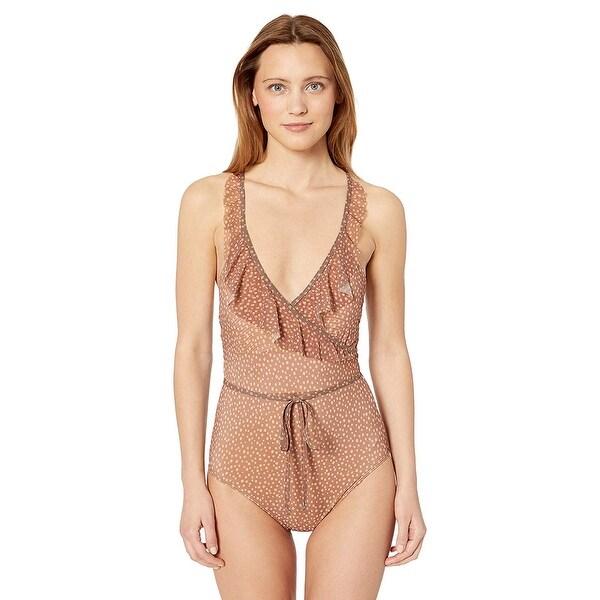 Ella Moss Women's X-Back Ruffle One Piece Swimsuit, Dashing, Orange, Size Medium