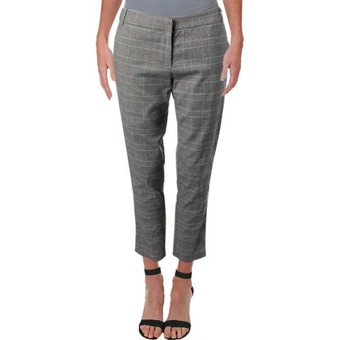 Aqua Womens Dress Pants Crop Glen Plaid