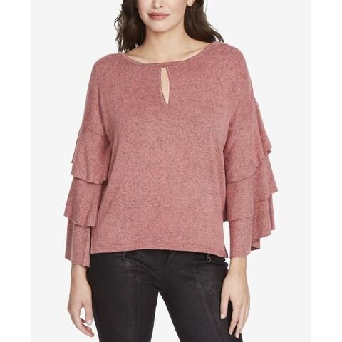 William Rast Pink Women's Size Medium M Michelle Tiered-Sleeve Top