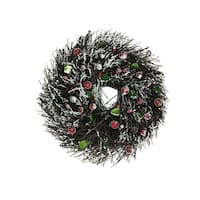 "10.25"" Frosted Brown Twig Artificial Christmas Wreath with Leaves and Berries - Unlit"