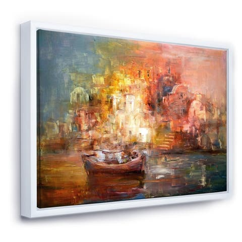 Designart 'Little Boats Arriving The At Shore During Sunset VIII' Traditional Framed Canvas Wall Art Print