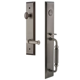 "Grandeur FAVFGRGEO_ESET_234_LH  Fifth Avenue Solid Brass Rose Left Handed Keyed Entry Single Cylinder Full Plate ""F"" Grip"