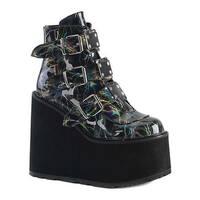 Demonia Women's Swing 105LBH Platform Ankle Boot Black Hologram