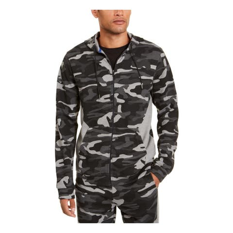 IDEOLOGY Mens Black Camouflage Long Sleeve Classic Fit Draw String Sweatshirt XL