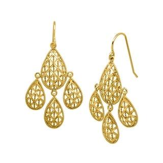 Just Gold Chandelier Mesh Earrings in 10K Gold - YELLOW