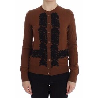 Dolce & Gabbana Brown Wool Black Lace Cardigan Sweater