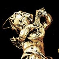 Set of 10 Classic Gold and Black Musical Cherubs Christmas Ornaments 5""