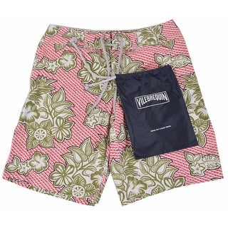 Vilebrequin Men's Red Green Scale Flower Trunks Board Shorts M