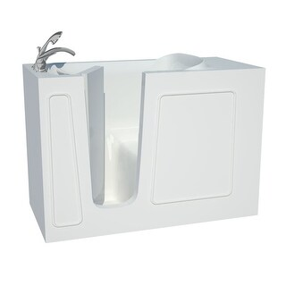 """Avano B2653LS Architect Series 52-3/4"""" Gel Coated Soaking Bathtub for Alcove Installations with Left Drain, Roman Tub Faucet and"""