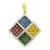 Prism Jewel 0.98Ct G-H/SI1 Multi Color Diamond with Natural Diamond Pendant - White
