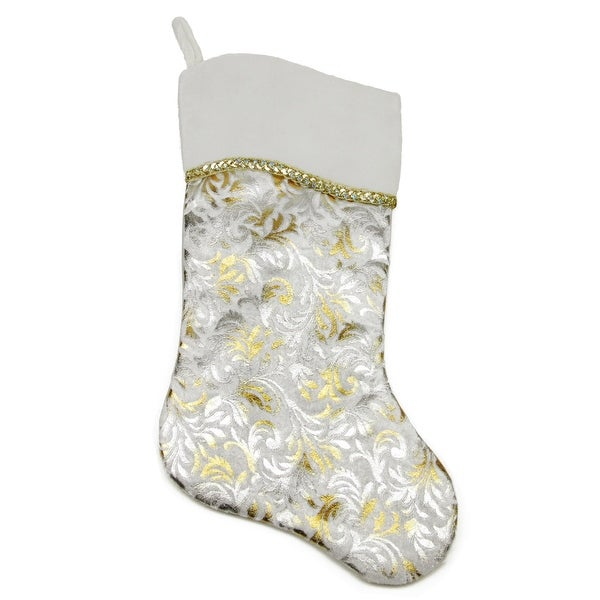 """20.5"""" Metallic Silver and Gold Flourish Christmas Stocking with Curved Cuff"""