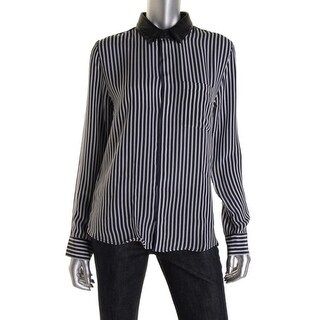 Each x Other Womens Silk Striped Button-Down Top