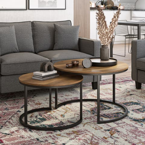 CorLiving Fort Worth Brown Wood Grain Finish Nesting Coffee Table
