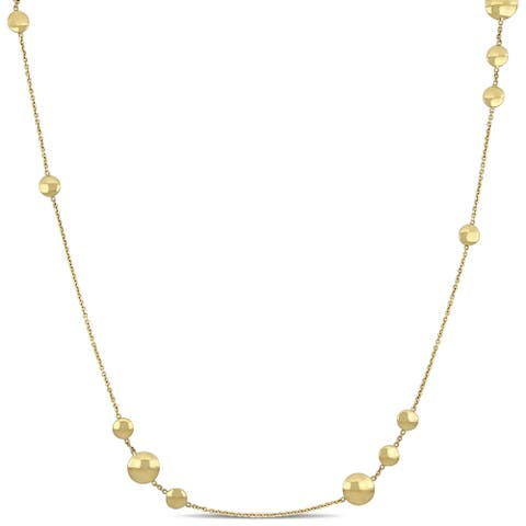 Miadora Ball Station Necklace in 18k Yellow Gold