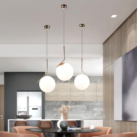 1-Light Globe Pendant Light with Opal Glass Shade