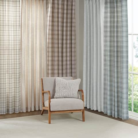 Madison Park Barnet Faux Linen Rod Pocket and Back Tab Panel with Fleece Lining