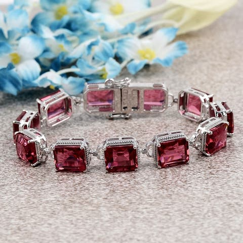 Sapphire, Morganite Sterling Silver Octagon Link Bracelet by Orchid Jewelry