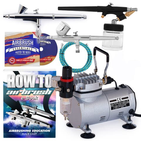 Dual-Action Airbrush Kit with 3 Airbrushes