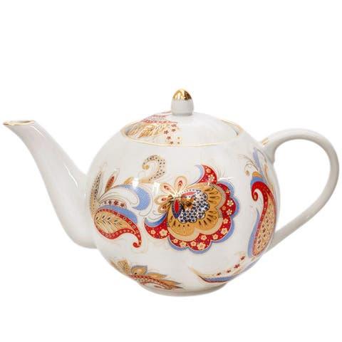The Firebird Gold Rim 20-Oz Porcelain Teapot