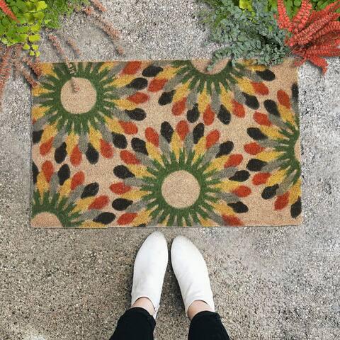 "GAURI KOHLI Natural Coir Doormat African Flower (30"" X 18"")"