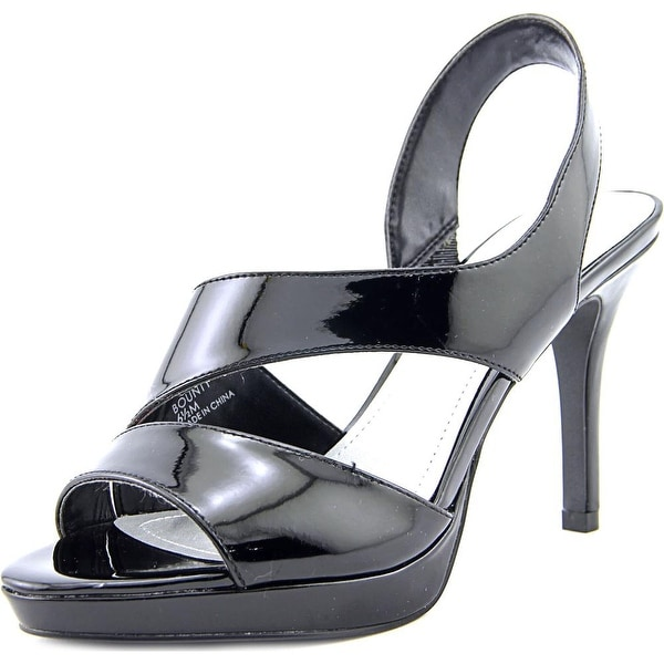 Tahari Bounty Women Open Toe Patent Leather Black Platform Heel