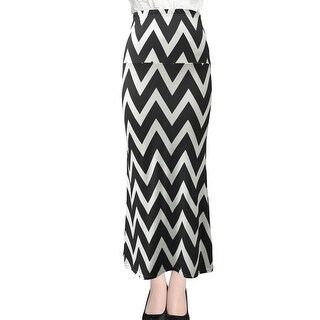 Lady Zig-Zag Pattern Elastic Waist Casual Maxi Straight Skirt - Black - XL