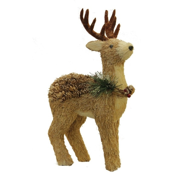 "16"" Sparkling Reindeer Wearing Frosted Wreath Christmas Decoration"