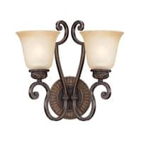 Craftmade 28262 Josephine 2 Light Indoor Wall Sconce - 14.75 Inches Wide - aged bronze with gold