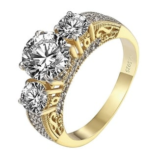 3 Solitaire CZ Ring 14k Yellow Gold Over Sterling Silver Engagement Wedding