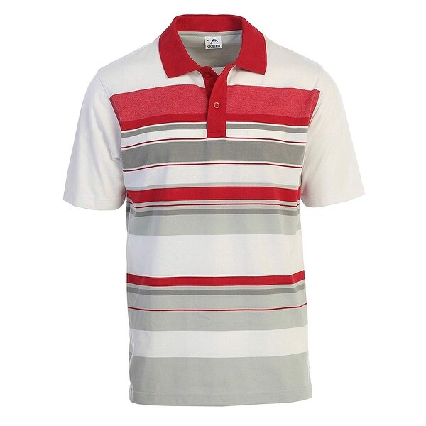 68ae2fc3b14 Shop Gioberti Red Modern Fit Mens 2XL Striped Short Sleeve Polo Shirt -  Free Shipping On Orders Over $45 - Overstock - 27212648