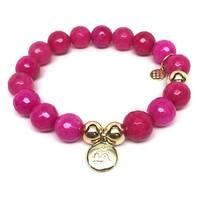 """Fuchsia Quartz Om Charm 7"""" Bracelet"""