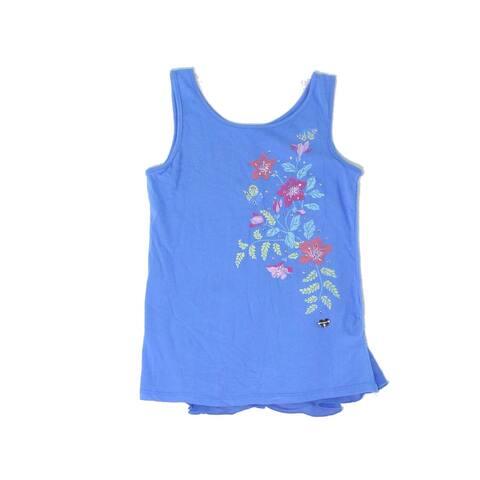 bebe Girls Tops Blue Size Large L Embellished Floral-Print Scoop Neck 072