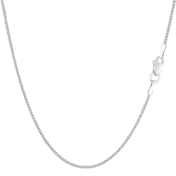 Mcs Jewelry Inc 14 KARAT WHITE GOLD SOLID ROUND WHEAT CHAIN NECKLACE (1.0MM)