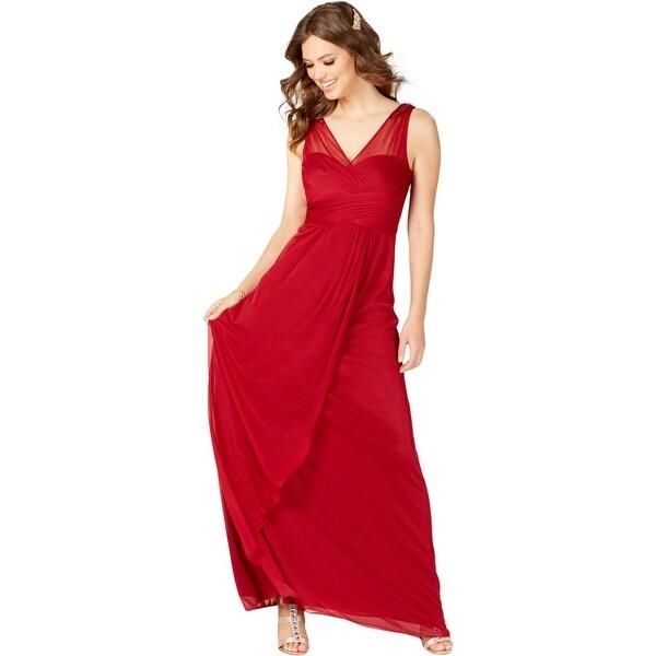 709b7d30fcace Shop Adrianna Papell Womens Formal Dress Embellished Shirred V Neck ...