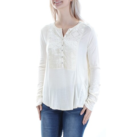 LUCKY BRAND Womens Ivory Velvet Long Sleeve Jewel Neck Button Up Top Size: S