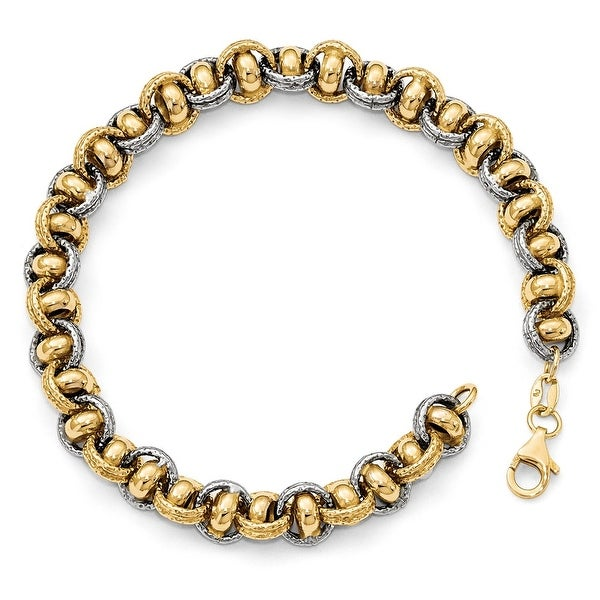 Italian 14k Two-Tone Gold Link Bracelet - 7.5 inches