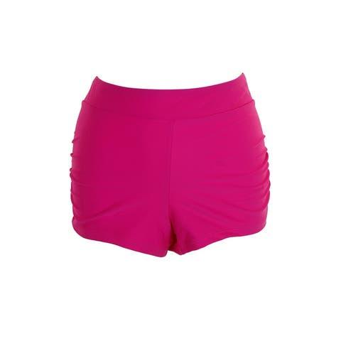 Go By Gossip Pink Ruched Boyshort Swim Bottom XL