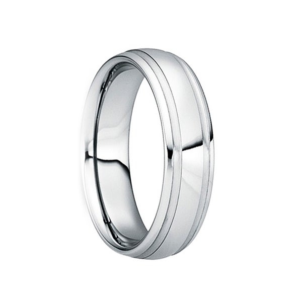 SECUNDINUS Polished Tungsten Carbide Ring with Brushed Dual Grooves by Crown Ring - 6mm