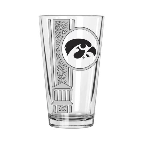 Iowa Hawkeyes 16oz Etched Decal Pint Glass