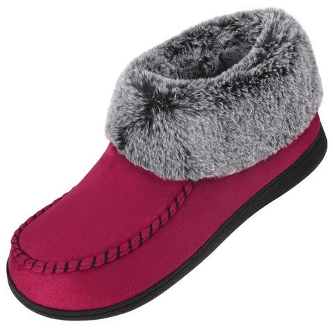 VONMAY Women's Suede Bootie Slippers Furry Plush Boots